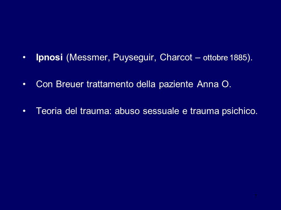 7 Ipnosi (Messmer, Puyseguir, Charcot – ottobre 1885 ). Con Breuer trattamento della paziente Anna O. Teoria del trauma: abuso sessuale e trauma psich