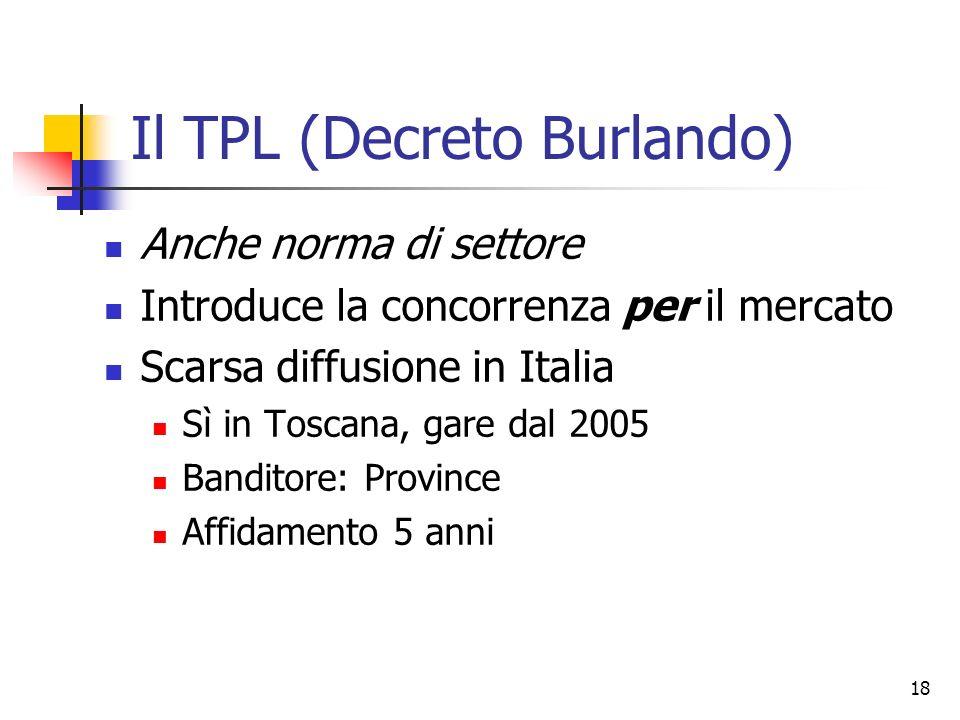 18 Il TPL (Decreto Burlando) Anche norma di settore Introduce la concorrenza per il mercato Scarsa diffusione in Italia Sì in Toscana, gare dal 2005 B