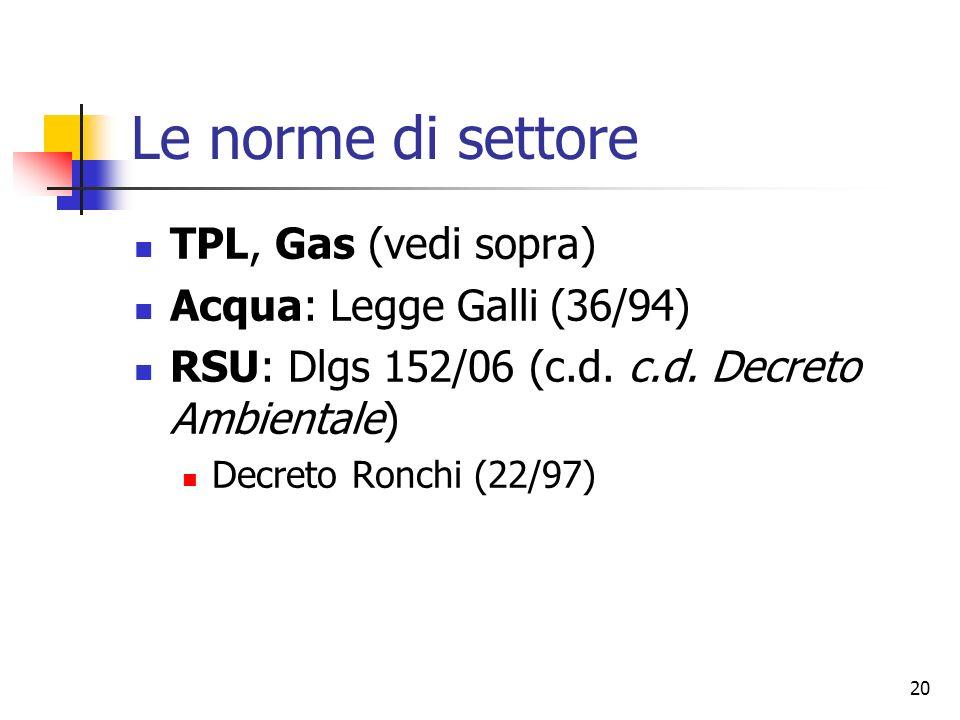 20 Le norme di settore TPL, Gas (vedi sopra) Acqua: Legge Galli (36/94) RSU: Dlgs 152/06 (c.d. c.d. Decreto Ambientale) Decreto Ronchi (22/97)