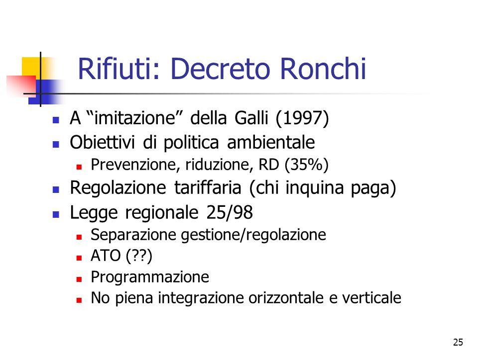 25 Rifiuti: Decreto Ronchi A imitazione della Galli (1997) Obiettivi di politica ambientale Prevenzione, riduzione, RD (35%) Regolazione tariffaria (c