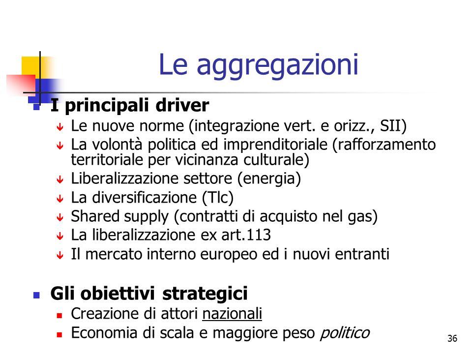 36 Le aggregazioni I principali driver Le nuove norme (integrazione vert. e orizz., SII) La volontà politica ed imprenditoriale (rafforzamento territo