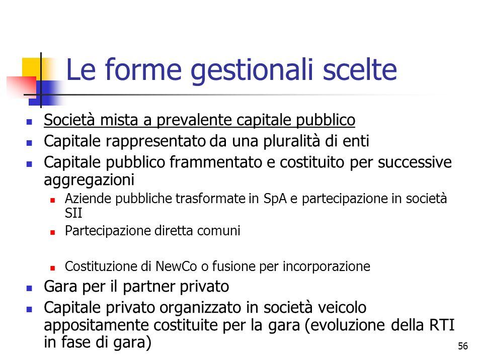 56 Le forme gestionali scelte Società mista a prevalente capitale pubblico Capitale rappresentato da una pluralità di enti Capitale pubblico frammenta
