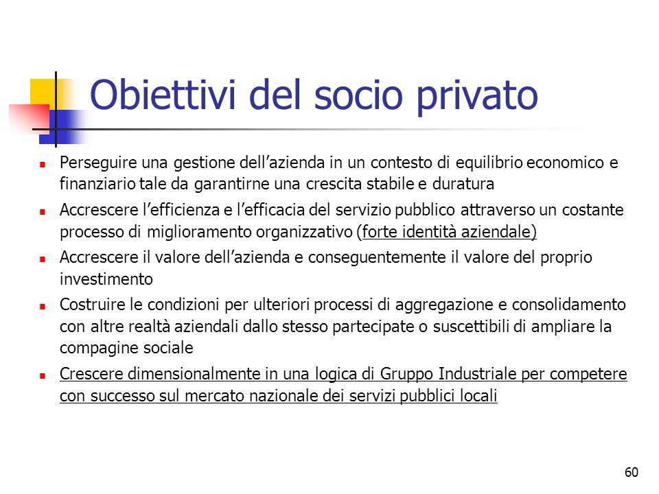 60 Obiettivi del socio privato Perseguire una gestione dellazienda in un contesto di equilibrio economico e finanziario tale da garantirne una crescit