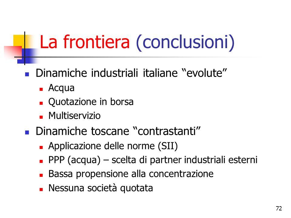 72 La frontiera (conclusioni) Dinamiche industriali italiane evolute Acqua Quotazione in borsa Multiservizio Dinamiche toscane contrastanti Applicazio