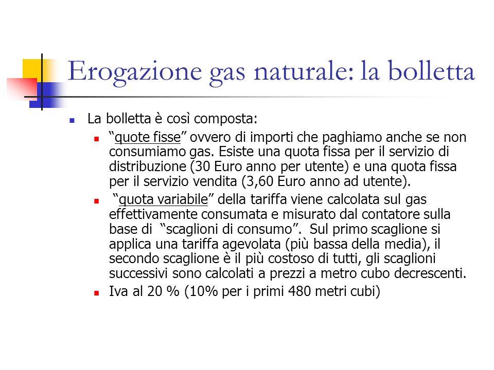 Erogazione gas naturale: la bolletta La bolletta è così composta: quote fisse ovvero di importi che paghiamo anche se non consumiamo gas. Esiste una q
