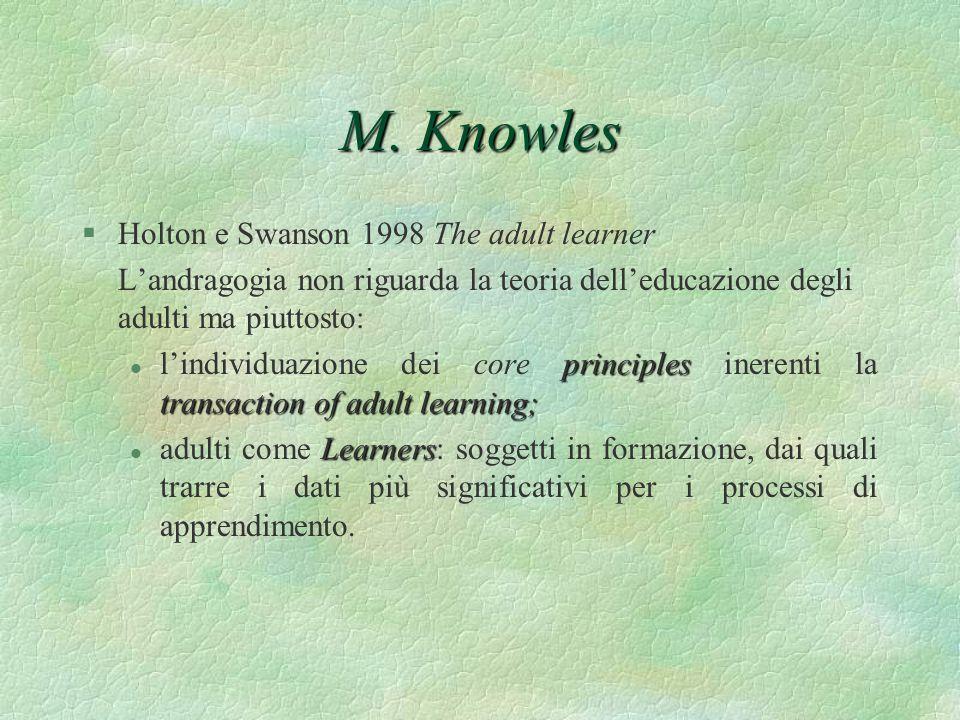 M. Knowles §Holton e Swanson 1998 The adult learner Landragogia non riguarda la teoria delleducazione degli adulti ma piuttosto: principles transactio