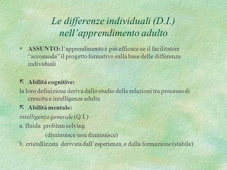Le differenze individuali (D.I.) nellapprendimento adulto §ASSUNTO: lapprendimento è più efficace se il facilitatore accomoda il progetto formativo su