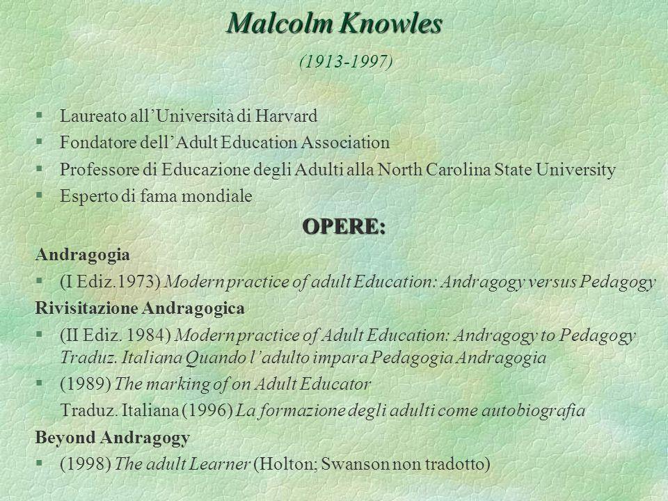 Malcolm Knowles Malcolm Knowles (1913-1997) §Laureato allUniversità di Harvard §Fondatore dellAdult Education Association §Professore di Educazione de