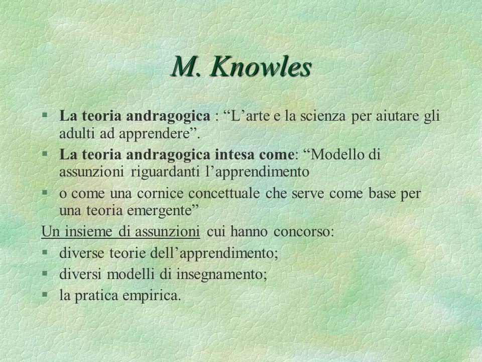 M. Knowles §La teoria andragogica : Larte e la scienza per aiutare gli adulti ad apprendere. §La teoria andragogica intesa come: Modello di assunzioni
