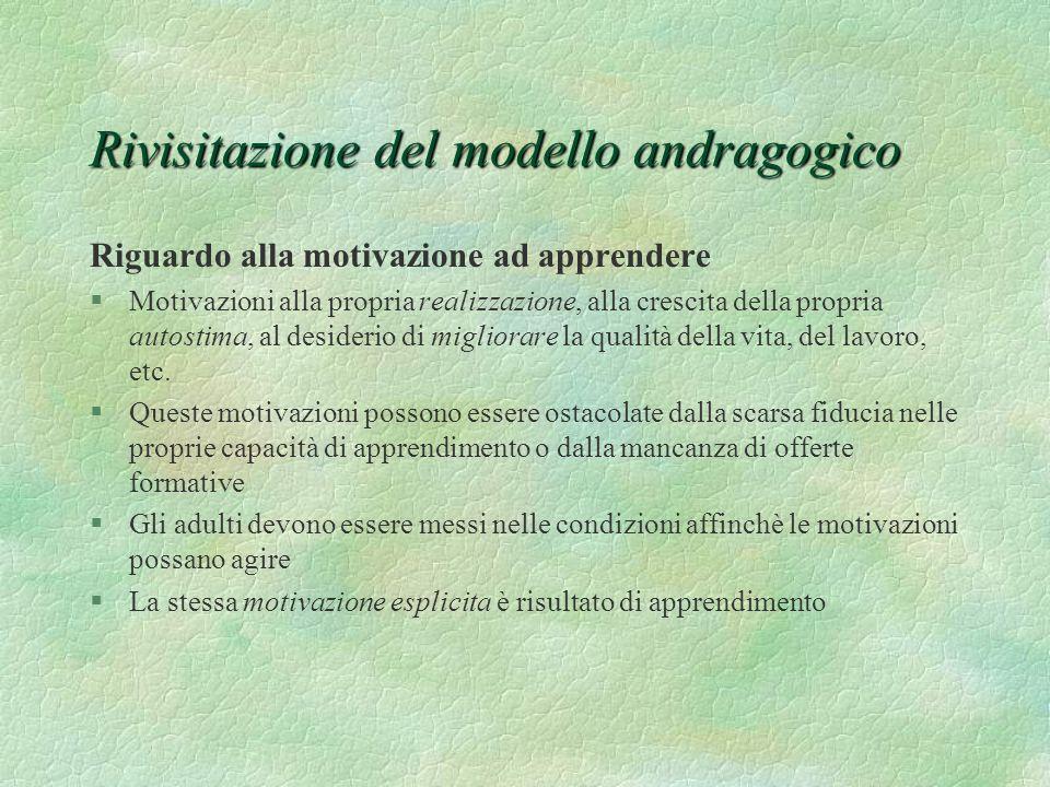 Rivisitazione del modello andragogico Riguardo alla motivazione ad apprendere §Motivazioni alla propria realizzazione, alla crescita della propria aut