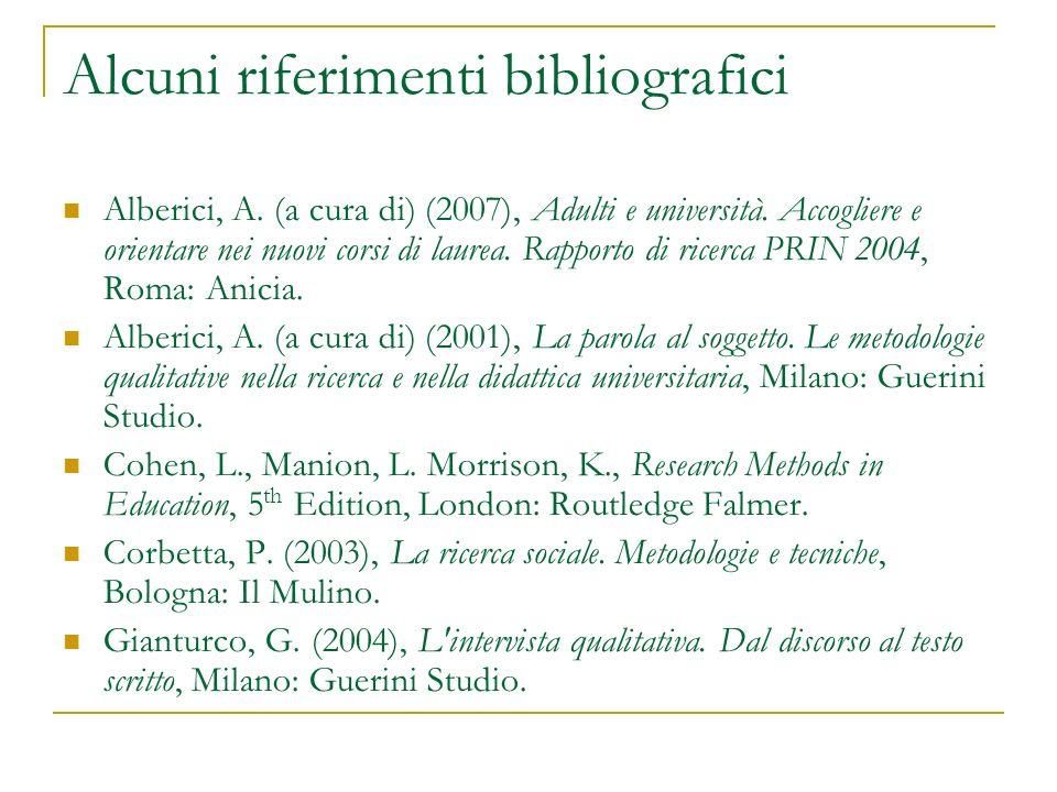 Alcuni riferimenti bibliografici Alberici, A. (a cura di) (2007), Adulti e università. Accogliere e orientare nei nuovi corsi di laurea. Rapporto di r
