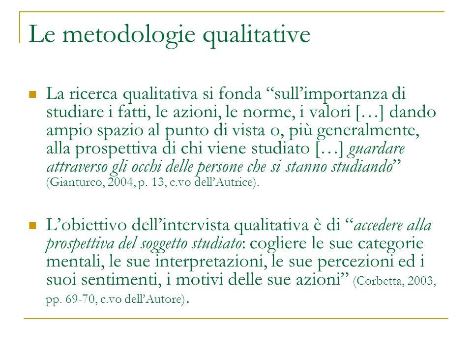 Le metodologie qualitative La ricerca qualitativa si fonda sullimportanza di studiare i fatti, le azioni, le norme, i valori […] dando ampio spazio al punto di vista o, più generalmente, alla prospettiva di chi viene studiato […] guardare attraverso gli occhi delle persone che si stanno studiando (Gianturco, 2004, p.