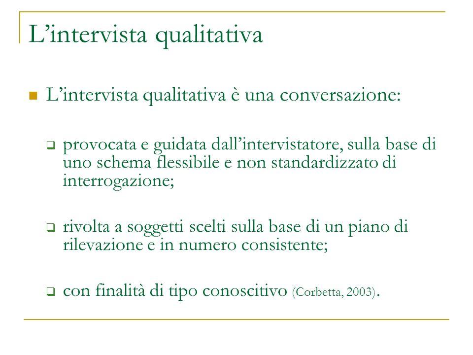 Lintervista qualitativa Lintervista qualitativa è una conversazione: provocata e guidata dallintervistatore, sulla base di uno schema flessibile e non standardizzato di interrogazione; rivolta a soggetti scelti sulla base di un piano di rilevazione e in numero consistente; con finalità di tipo conoscitivo (Corbetta, 2003).