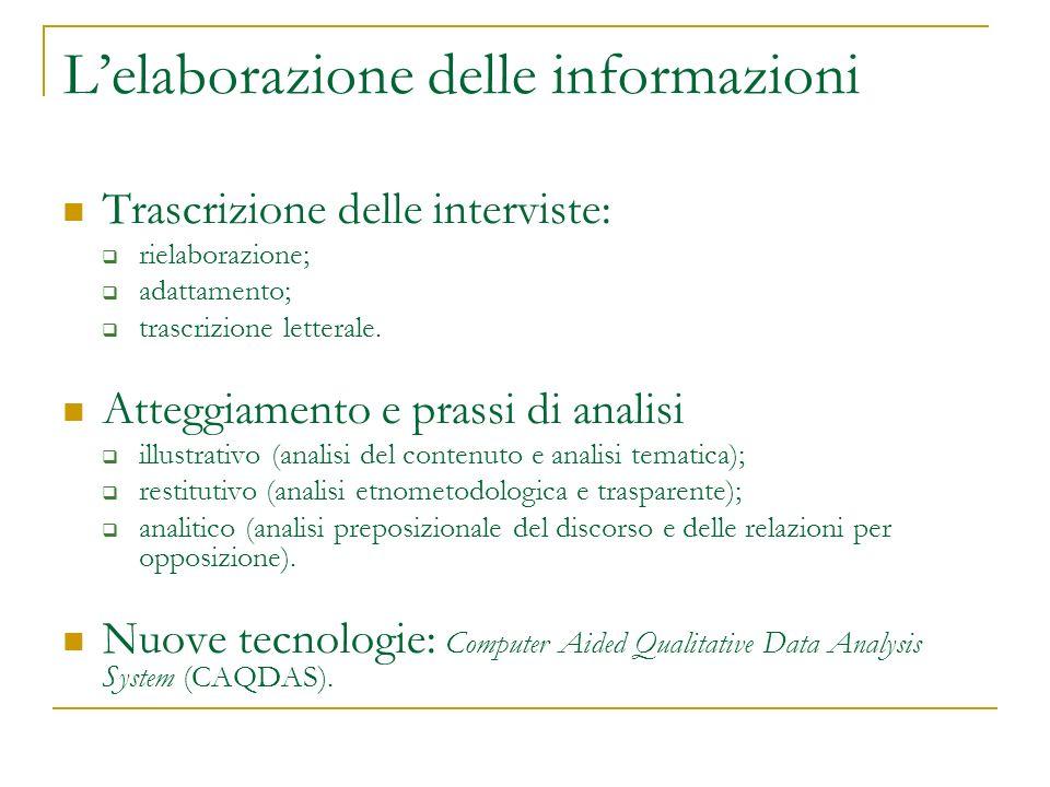 Lelaborazione delle informazioni Trascrizione delle interviste: rielaborazione; adattamento; trascrizione letterale. Atteggiamento e prassi di analisi