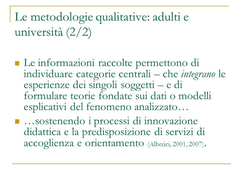 Le metodologie qualitative: adulti e università (2/2) Le informazioni raccolte permettono di individuare categorie centrali – che integrano le esperie
