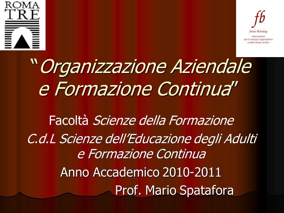 Organizzazione Aziendale e Formazione Continua Organizzazione Aziendale e Formazione Continua Facoltà Scienze della Formazione Scienze dellEducazione