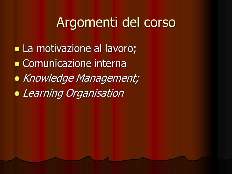 Argomenti del corso La motivazione al lavoro; La motivazione al lavoro; Comunicazione interna Comunicazione interna Knowledge Management; Knowledge Ma