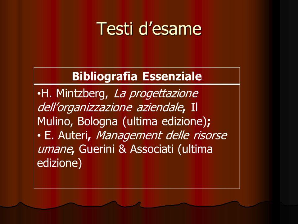 Testi desame Bibliografia Essenziale H. Mintzberg, La progettazione dellorganizzazione aziendale, Il Mulino, Bologna (ultima edizione); E. Auteri, Man
