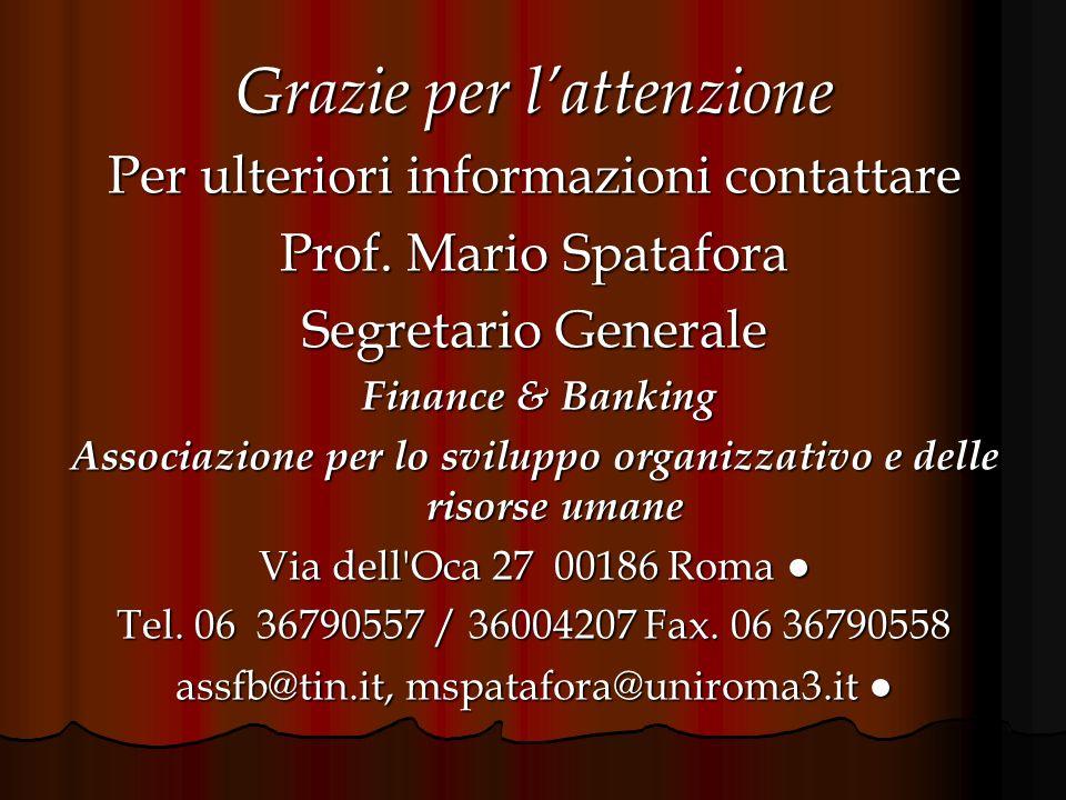 Grazie per lattenzione Per ulteriori informazioni contattare Prof. Mario Spatafora Segretario Generale Finance & Banking Finance & Banking Associazion