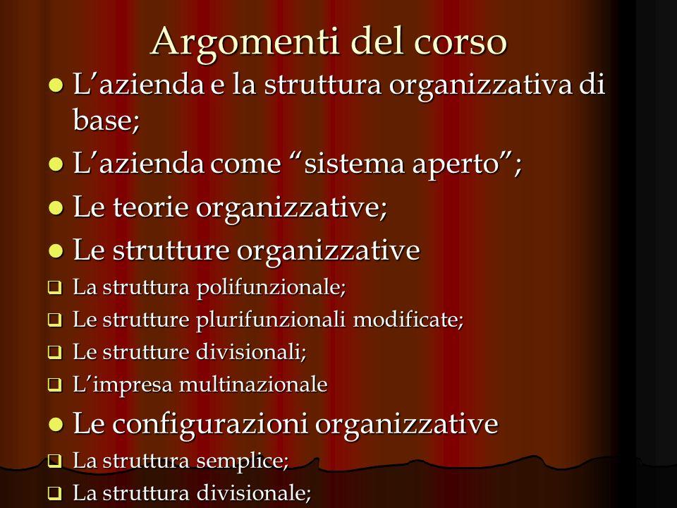 Argomenti del corso Lazienda e la struttura organizzativa di base; Lazienda e la struttura organizzativa di base; Lazienda come sistema aperto; Lazien