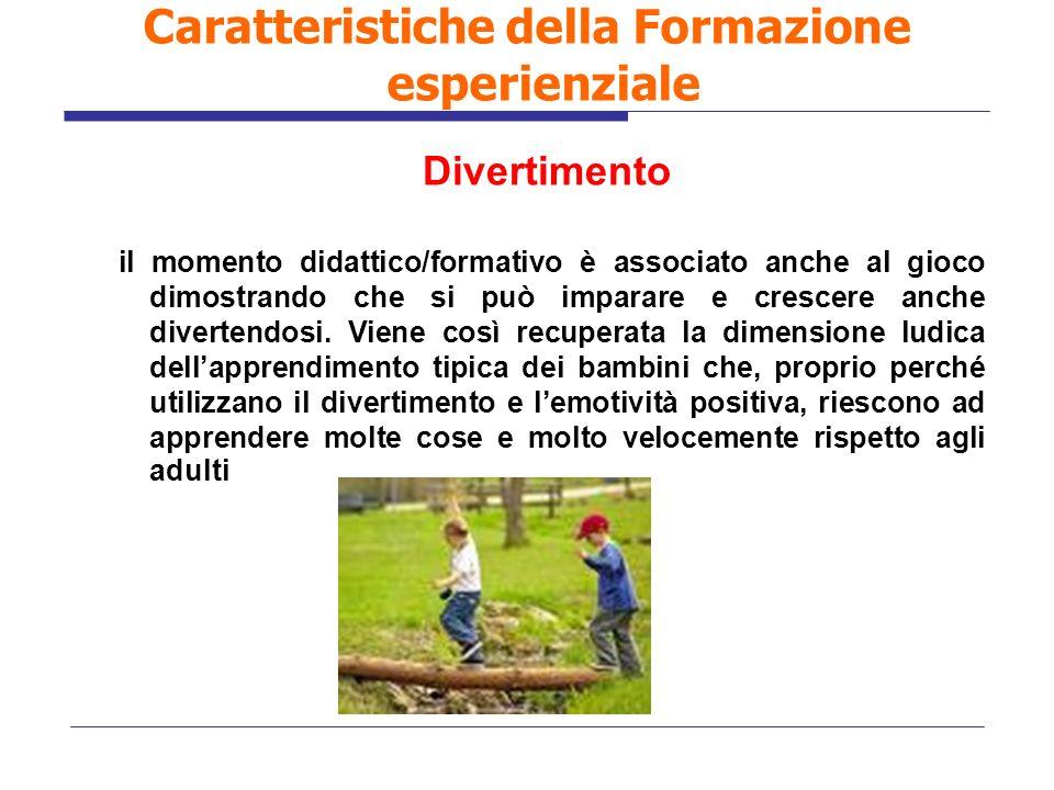Divertimento il momento didattico/formativo è associato anche al gioco dimostrando che si può imparare e crescere anche divertendosi. Viene così recup