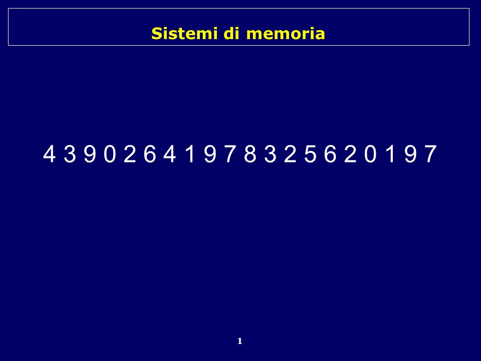 Sistemi di memoria 1 4 3 9 0 2 6 4 1 9 7 8 3 2 5 6 2 0 1 9 7