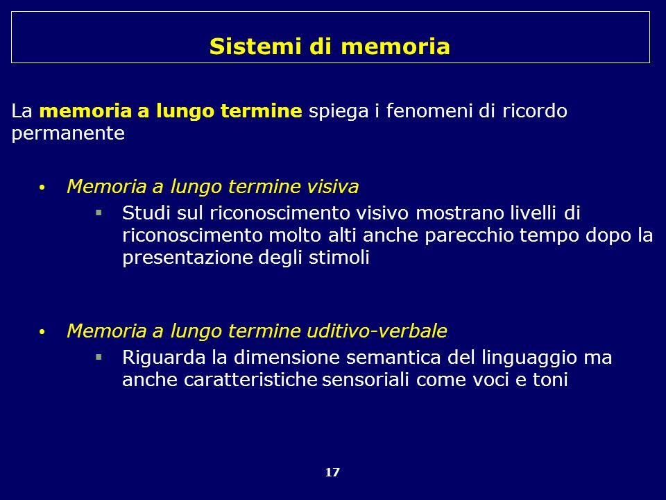 Sistemi di memoria 17 La memoria a lungo termine spiega i fenomeni di ricordo permanente Memoria a lungo termine visiva Studi sul riconoscimento visiv