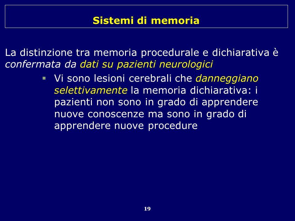 Sistemi di memoria 19 La distinzione tra memoria procedurale e dichiarativa è confermata da dati su pazienti neurologici Vi sono lesioni cerebrali che