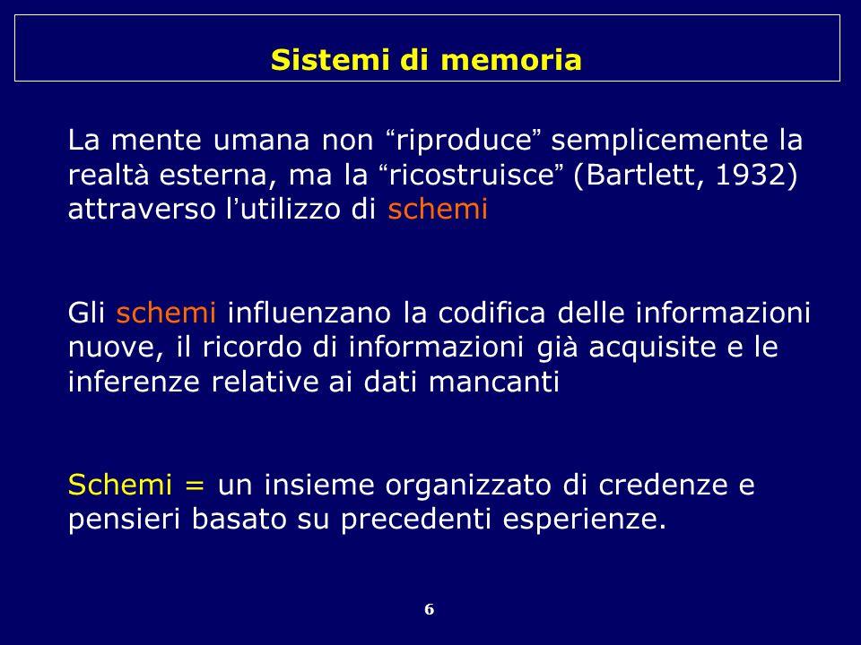 Sistemi di memoria 6 La mente umana non riproduce semplicemente la realt à esterna, ma la ricostruisce (Bartlett, 1932) attraverso l utilizzo di schem