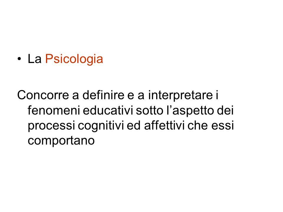 La Psicologia Concorre a definire e a interpretare i fenomeni educativi sotto laspetto dei processi cognitivi ed affettivi che essi comportano