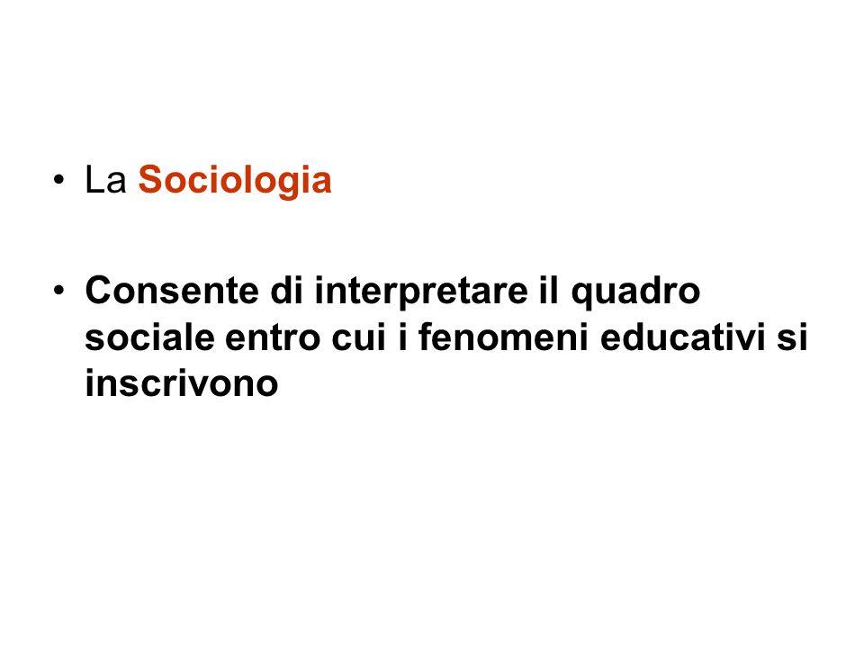 La Sociologia Consente di interpretare il quadro sociale entro cui i fenomeni educativi si inscrivono