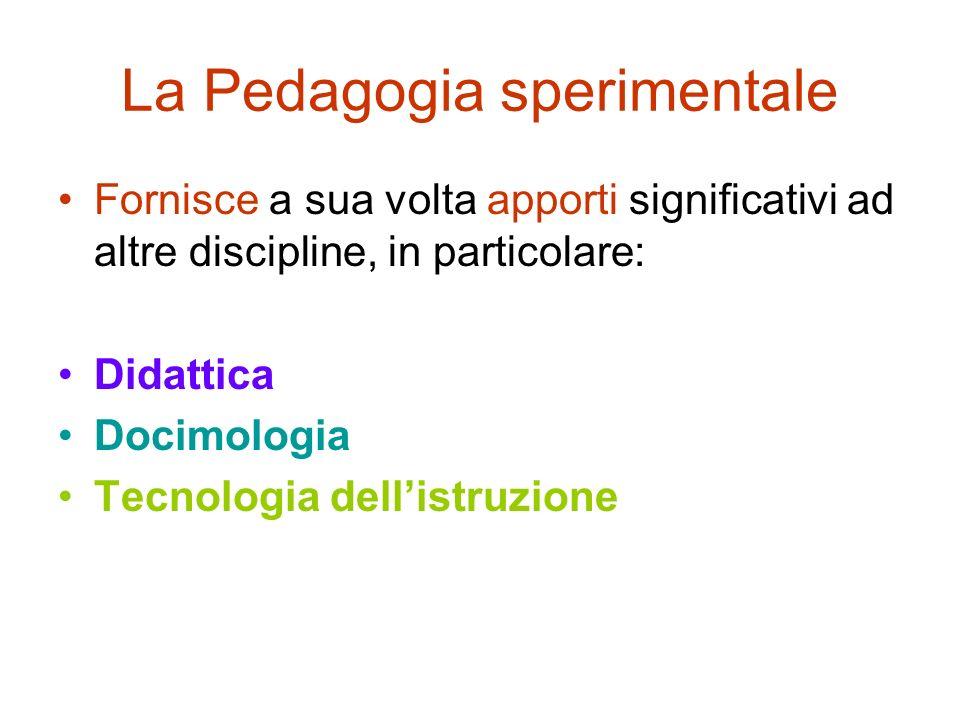 La Pedagogia sperimentale Fornisce a sua volta apporti significativi ad altre discipline, in particolare: Didattica Docimologia Tecnologia dellistruzi