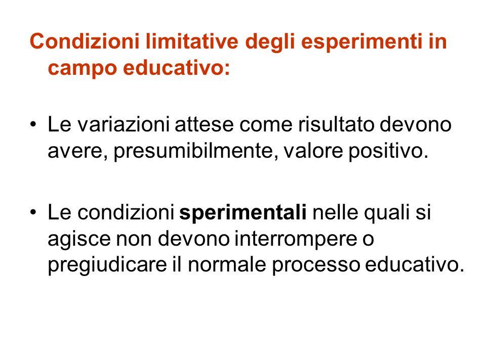 Condizioni limitative degli esperimenti in campo educativo: Le variazioni attese come risultato devono avere, presumibilmente, valore positivo. Le con