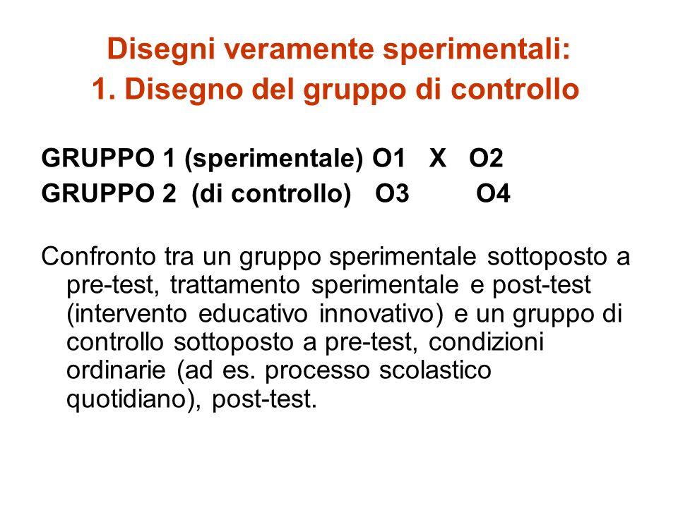 Disegni veramente sperimentali: 1. Disegno del gruppo di controllo GRUPPO 1 (sperimentale) O1 X O2 GRUPPO 2 (di controllo) O3 O4 Confronto tra un grup