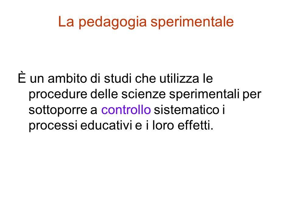 La pedagogia sperimentale È un ambito di studi che utilizza le procedure delle scienze sperimentali per sottoporre a controllo sistematico i processi educativi e i loro effetti.
