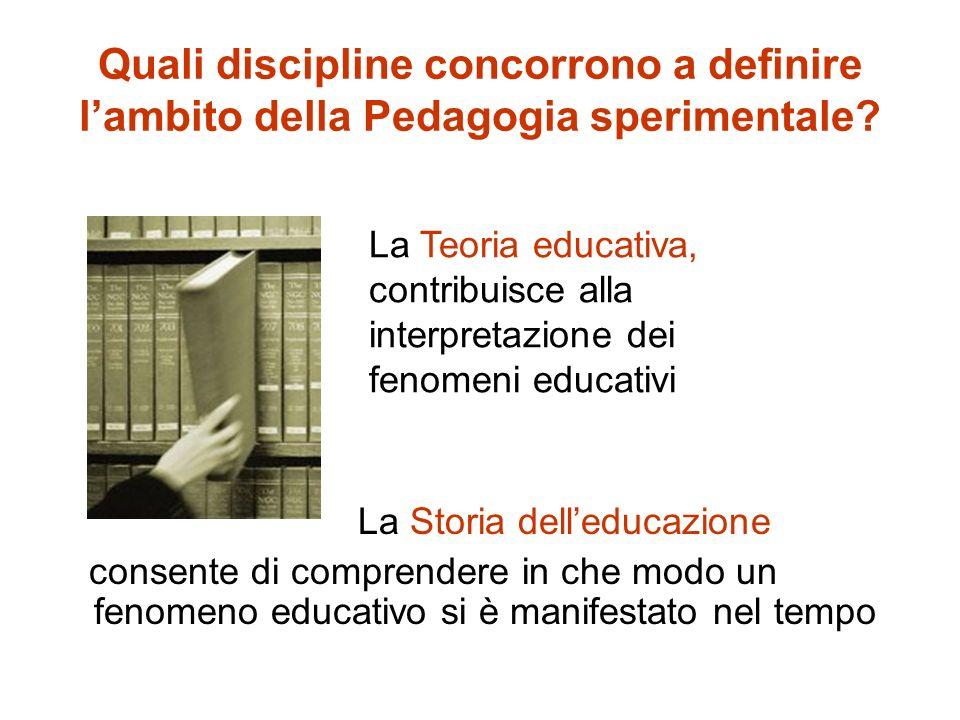 Quali discipline concorrono a definire lambito della Pedagogia sperimentale.