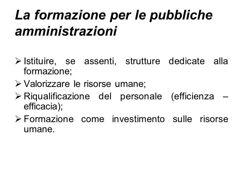 La formazione per le pubbliche amministrazioni Istituire, se assenti, strutture dedicate alla formazione; Valorizzare le risorse umane; Riqualificazione del personale (efficienza – efficacia); Formazione come investimento sulle risorse umane.