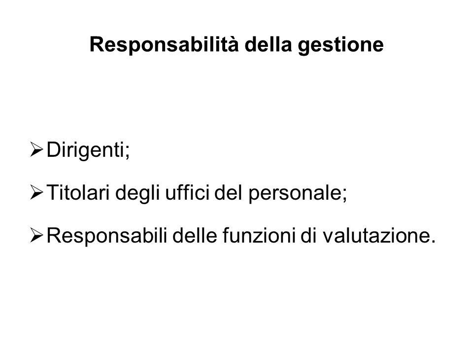 Responsabilità della gestione Dirigenti; Titolari degli uffici del personale; Responsabili delle funzioni di valutazione.