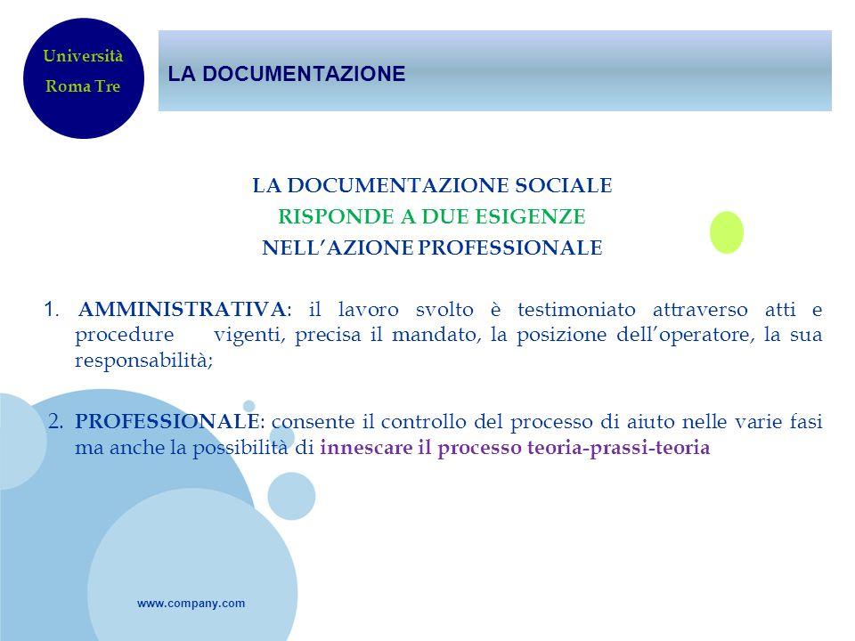 www.company.com LA DOCUMENTAZIONE LA DOCUMENTAZIONE SOCIALE RISPONDE A DUE ESIGENZE NELLAZIONE PROFESSIONALE 1. AMMINISTRATIVA : il lavoro svolto è te