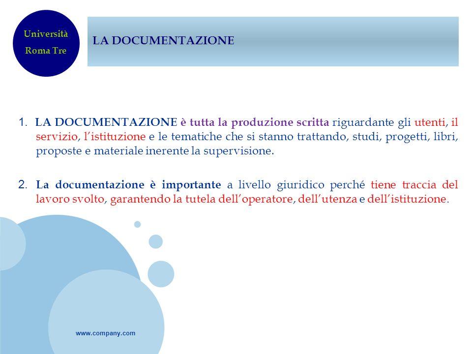 www.company.com LA DOCUMENTAZIONE 1. LA DOCUMENTAZIONE è tutta la produzione scritta riguardante gli utenti, il servizio, listituzione e le tematiche