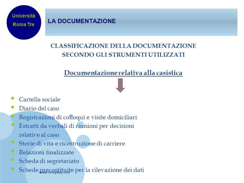www.company.com LA DOCUMENTAZIONE CLASSIFICAZIONE DELLA DOCUMENTAZIONE SECONDO GLI STRUMENTI UTILIZZATI Documentazione relativa alla casistica Cartell