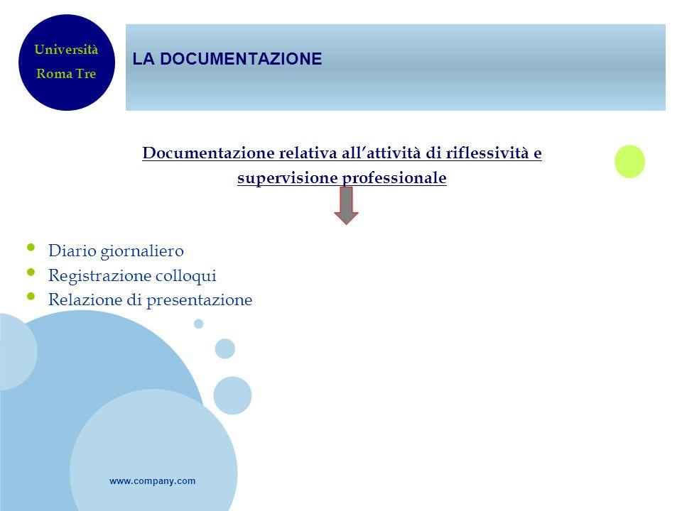 www.company.com LA DOCUMENTAZIONE Documentazione relativa allattività di riflessività e supervisione professionale Diario giornaliero Registrazione co