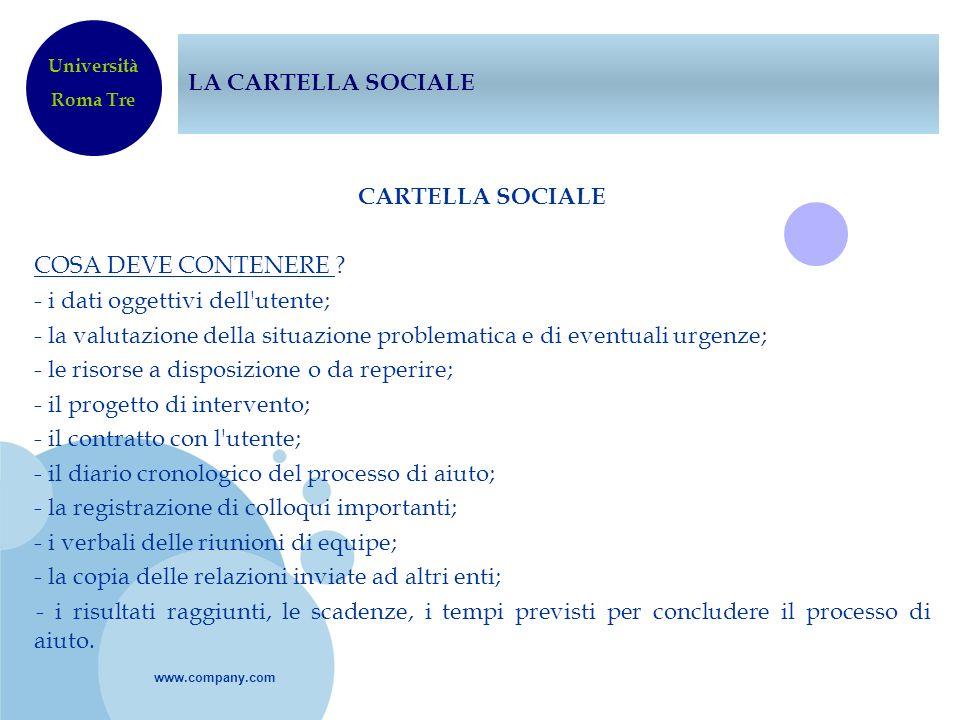 www.company.com LA CARTELLA SOCIALE CARTELLA SOCIALE COSA DEVE CONTENERE ? - i dati oggettivi dell'utente; - la valutazione della situazione problemat