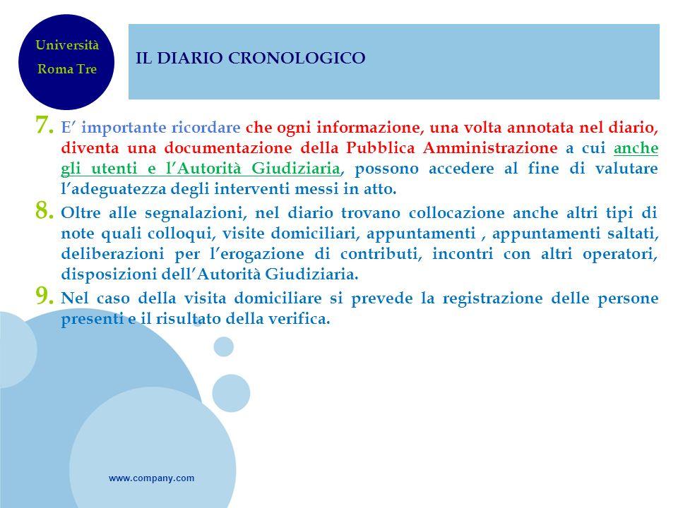 www.company.com IL DIARIO CRONOLOGICO 7. E importante ricordare che ogni informazione, una volta annotata nel diario, diventa una documentazione della