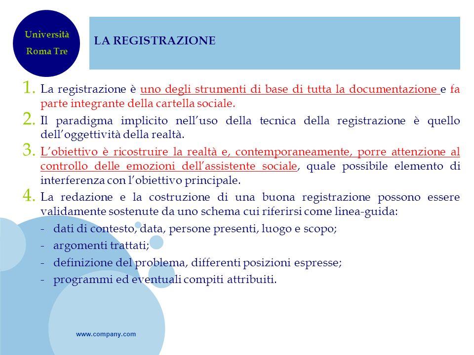 www.company.com LA REGISTRAZIONE 1. La registrazione è uno degli strumenti di base di tutta la documentazione e fa parte integrante della cartella soc