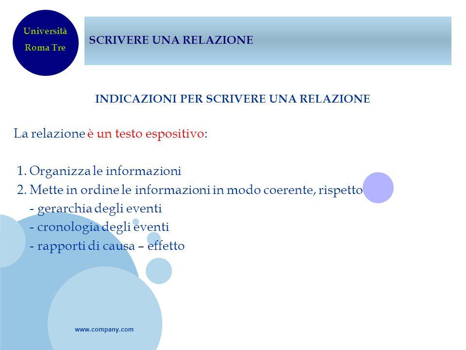 www.company.com SCRIVERE UNA RELAZIONE INDICAZIONI PER SCRIVERE UNA RELAZIONE La relazione è un testo espositivo: 1. Organizza le informazioni 2. Mett