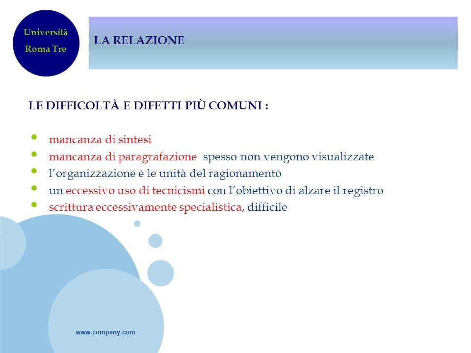 www.company.com LA RELAZIONE LE DIFFICOLTÀ E DIFETTI PIÙ COMUNI : mancanza di sintesi mancanza di paragrafazione spesso non vengono visualizzate lorga