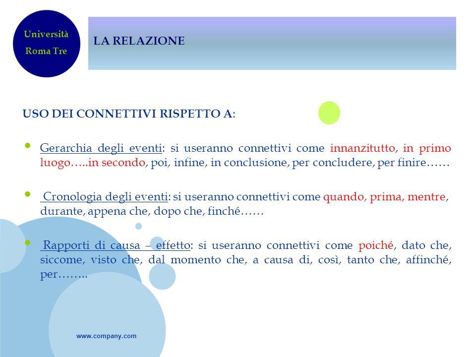 www.company.com LA RELAZIONE USO DEI CONNETTIVI RISPETTO A : Gerarchia degli eventi: si useranno connettivi come innanzitutto, in primo luogo…..in sec