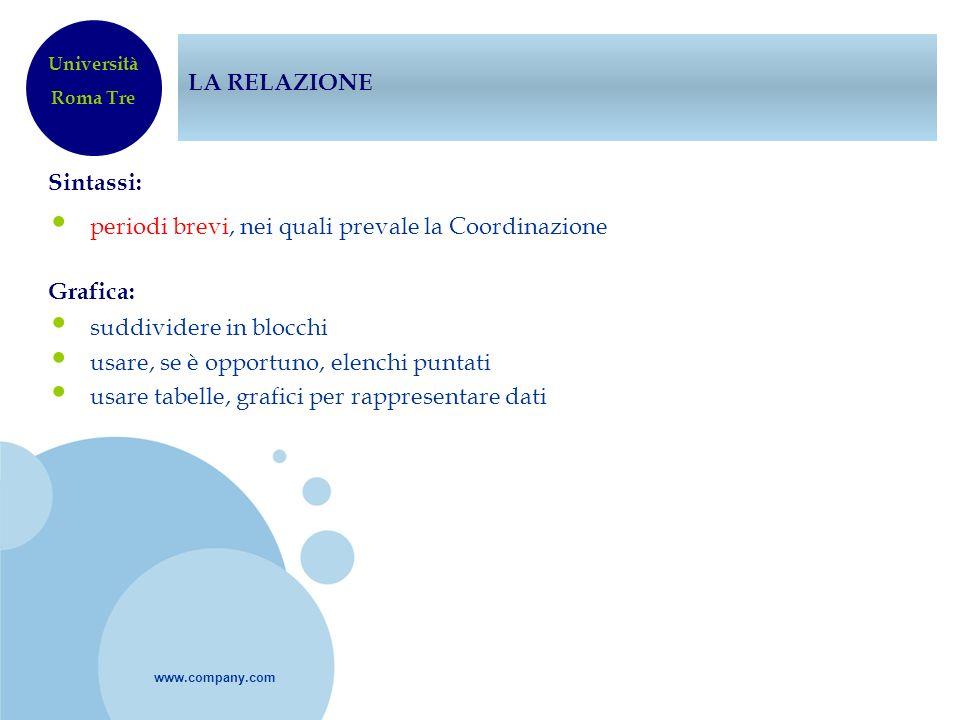 www.company.com LA RELAZIONE Sintassi: periodi brevi, nei quali prevale la Coordinazione Grafica: suddividere in blocchi usare, se è opportuno, elench