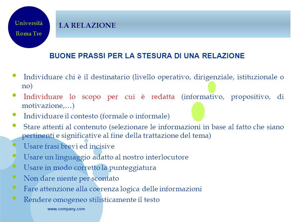 www.company.com LA RELAZIONE BUONE PRASSI PER LA STESURA DI UNA RELAZIONE Individuare chi è il destinatario (livello operativo, dirigenziale, istituzi
